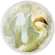 Peace Round Beach Towel by Kathy Bassett