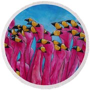 Peace Love And Flamingos Round Beach Towel