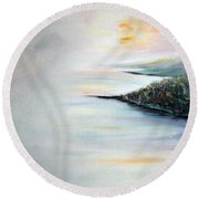 Round Beach Towel featuring the painting Peace by Meaghan Troup