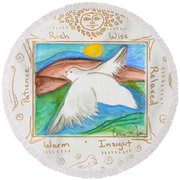 Round Beach Towel featuring the painting Peace Of Heaven by Cassie Sears