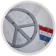 Peace Sells But Who's Buying Round Beach Towel