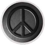 Peace Sign Stone Texture Round Beach Towel