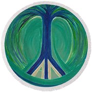 Peace Tree By Jrr Round Beach Towel by First Star Art