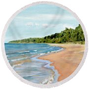 Peaceful Beach At Pier Cove Round Beach Towel