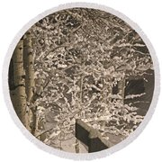 Round Beach Towel featuring the photograph Peaceful Blizzard by Fiona Kennard