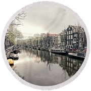 Peaceful Canal Round Beach Towel