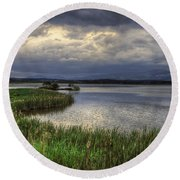 Peaceful Evening At The Lake Round Beach Towel