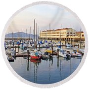 Round Beach Towel featuring the photograph Peaceful Marina by Kate Brown
