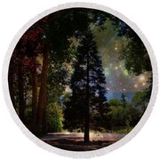Magical Night At The River Round Beach Towel