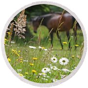Peaceful Pasture Round Beach Towel