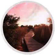 Round Beach Towel featuring the photograph Peaceful Path by Karen Silvestri