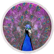 Peaceful Peacock Round Beach Towel