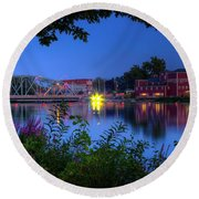 Round Beach Towel featuring the photograph Peaceful River by Dave Files