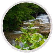 Round Beach Towel featuring the photograph Peaceful Stockbridge Falls  by Dave Files