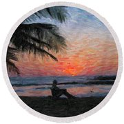 Peaceful Sunset Round Beach Towel by David Gleeson