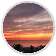 Peaceful Sunset Round Beach Towel by Mariarosa Rockefeller