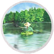 Peaceful Round Beach Towel by Troy Levesque