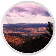 Round Beach Towel featuring the photograph Peaceful Valley by Matt Harang