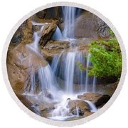 Round Beach Towel featuring the photograph Peaceful Waterfall by Jordan Blackstone