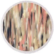 Peach And Blue Round Beach Towel by Lourry Legarde