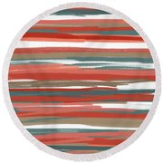 Peach And Neutrals Round Beach Towel by Lourry Legarde