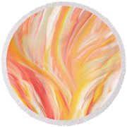 Peach Flare Round Beach Towel by Lourry Legarde