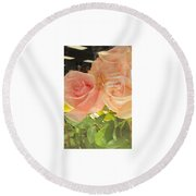 Peach Roses In Greeting Card Round Beach Towel