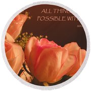 Peach Roses With Scripture Round Beach Towel by Sandi OReilly