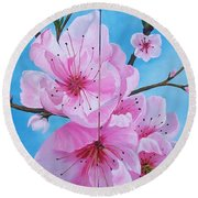 Peach Tree In Bloom Diptych Round Beach Towel