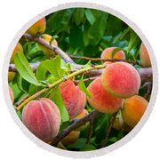 Peaches Round Beach Towel by Inge Johnsson