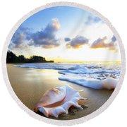 Peachs N' Cream Round Beach Towel