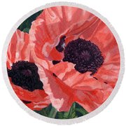 Peachy Poppies Round Beach Towel