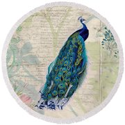 Peacock And Botanical Art Round Beach Towel by Peggy Collins
