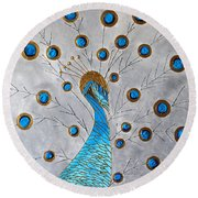 Peacock And Its Beauty Round Beach Towel