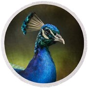 Round Beach Towel featuring the photograph Peacock by Ann Lauwers