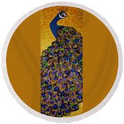Round Beach Towel featuring the tapestry - textile Peacock Blue by Apanaki Temitayo M
