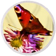Round Beach Towel featuring the digital art Peacock Butterfly by Daniel Janda