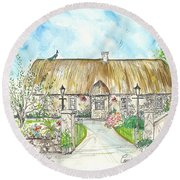 House Portrait Peacock Cottage Kanturk County Cork Ireland Round Beach Towel