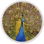 Peacock Courting Round Beach Towel by Charles Beeler