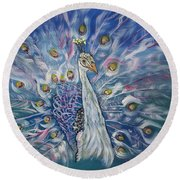 Peacock Dressed In White Round Beach Towel