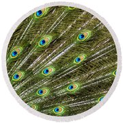 Peacock Feather Abstract Pattern Round Beach Towel