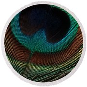 Peacock Feather Round Beach Towel by Jerry Fornarotto