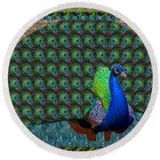 Peacock Graphic Design Based On Photographic Image Artist Navinjoshi Round Beach Towel
