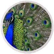 Peacock Head Round Beach Towel by Debby Pueschel