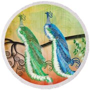 Round Beach Towel featuring the digital art Peacock Love by Kim Prowse