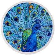 Round Beach Towel featuring the painting Peacock On Blue by Eloise Schneider