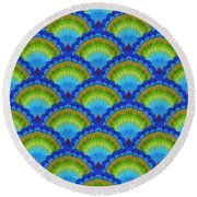 Peacock Scallop Feathers Round Beach Towel