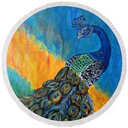 Peacock Waltz #3 Round Beach Towel