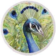 Peacock Watercolor Portrait Round Beach Towel