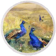 Peacocks In A Field Round Beach Towel by Mildred Anne Butler